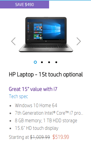 hp laptop 15t touch optional on black friday sale for $519